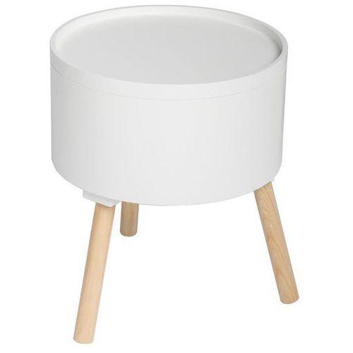 Nowoczesny stolik ze schowkiem, OSHI, 2w1, okrągły, 38 x 38 x 45 cm, biały (3560239290070)
