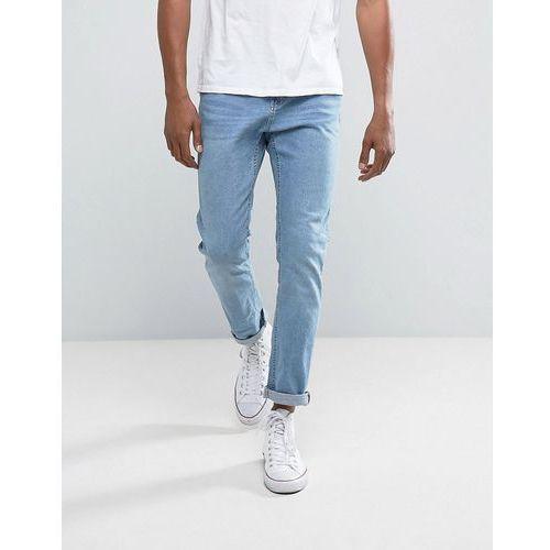 Bershka Slim Jeans In Light Wash - Blue, jeansy