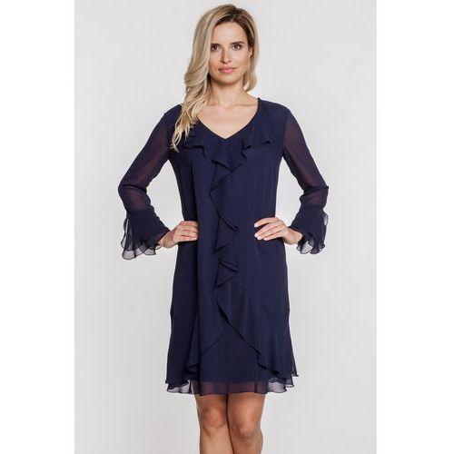 Szyfonowa sukienka z falbaniastym rękawem i dołem - Vito Vergelis, kolor niebieski