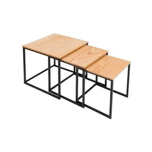 Zestaw stolików trio slim dąb - podstawa czarna marki Invicta interior