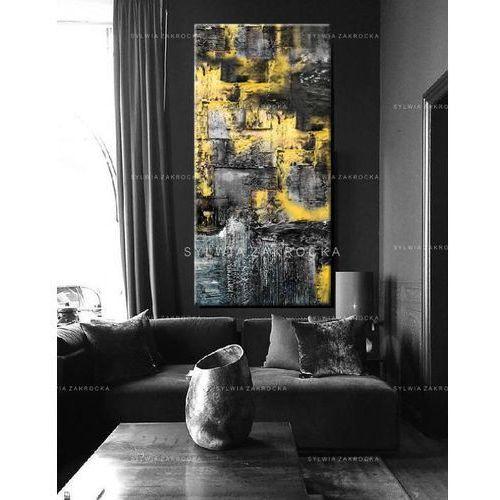 Duże obrazy nowoczesne - ręcznie malowane - zolto popielata erozja