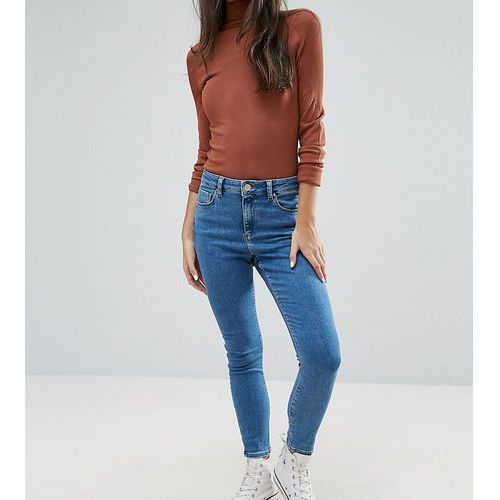 ASOS PETITE RIDLEY Ankle Grazer Jeans in Lily Wash - Blue