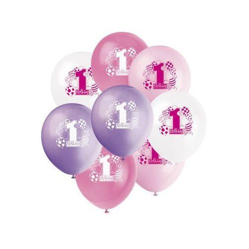 Unique Balony pastelowe na roczek 1st birthday baloniki pink - 31 cm - 8 szt.