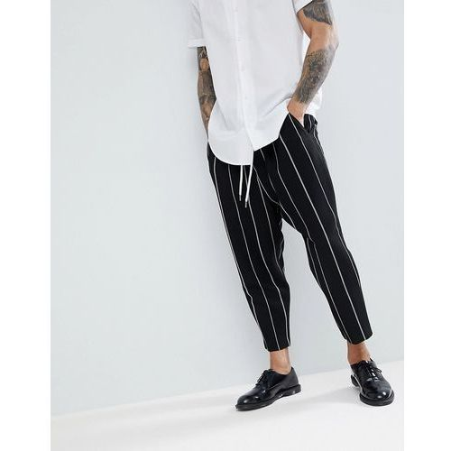 drop crotch tapered smart trousers in black waffle with white stripes - black marki Asos