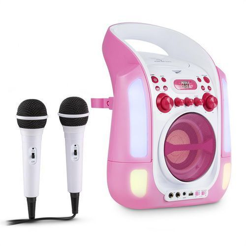 auna Kara Illumina zestaw karaoke CD USB MP3 pokaz świetlny LED 2 x mikrofon mobiny pink