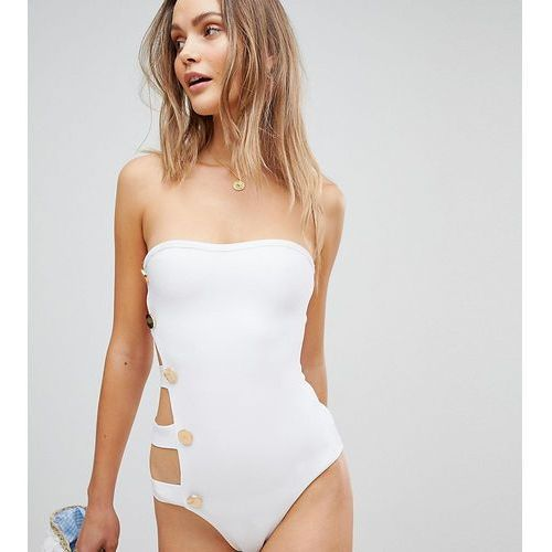 bandage button side swimsuit - white, Prettylittlething