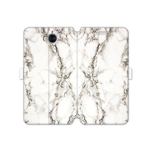 Huawei y5 (2017) - etui na telefon wallet book fantastic - biały marmur marki Etuo wallet book fantastic