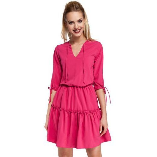 Różowa sukienka w stylu boho, Moe, 36-44