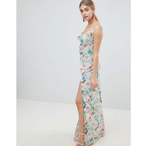 PrettyLittleThing Floral Maxi Dress With Side Split - Green, kolor zielony
