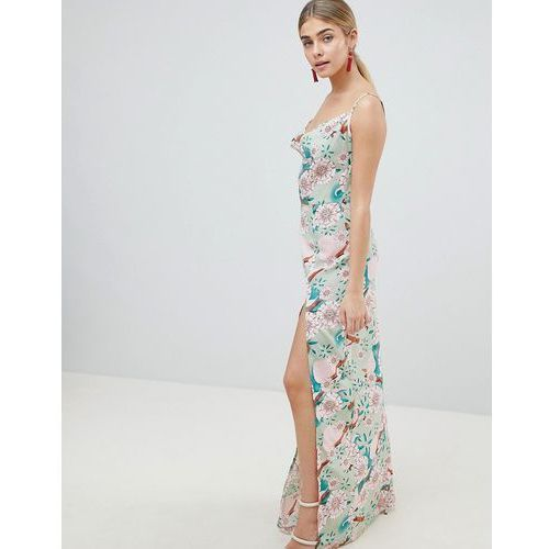 Prettylittlething floral maxi dress with side split - green