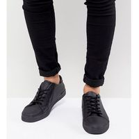 ASOS Wide Fit Lace Up Trainers In Black With Toe Cap - Black, kolor czarny