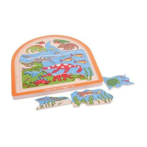 Bigjigs toys Królestwo dinozaurów - puzzle wielowarstwowe