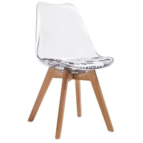 Krzesło na dębowym stelażu z wzorem gazety na siedzisku nordic clear marki King home