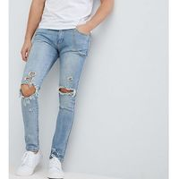 Liquor & Poker Washed Mid Blue Knee Rips Chain Skinny Jeans - Blue, kolor niebieski