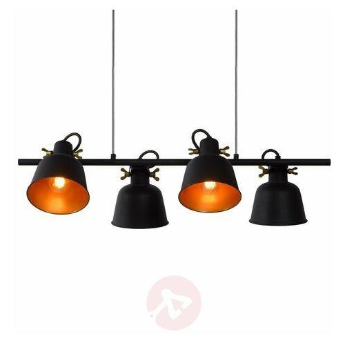 Lucide Pia 45380/04/30 Lampa wisząca zwis 4x60W E27 czarny/satynowy mosiądz (5411212451095)