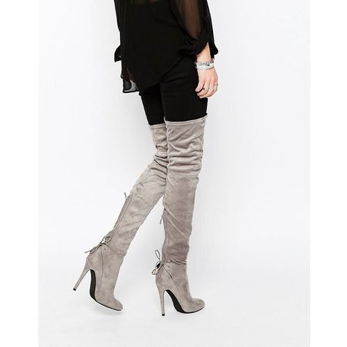 colette heeled thigh high boots - grey, Public desire