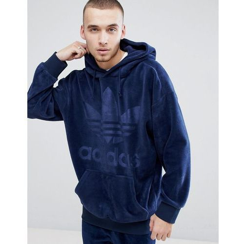 adidas Originals adicolor Velour Hoodie In Oversized Fit In Navy CW1327 - Navy, kolor szary