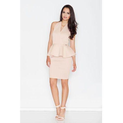 0cddd016de Suknie i sukienki · Beżowa Koktajlowa Sukienka z Kopertowym Dekoltem z  Baskinką