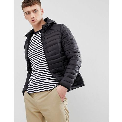 Bershka Hooded Puffer Jacket In Black - Black