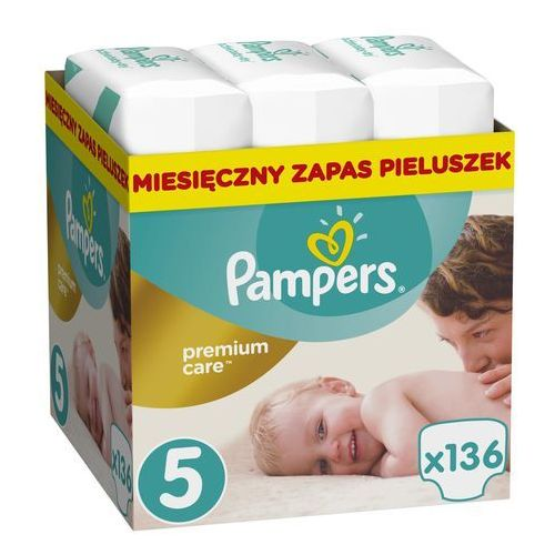 Pampers premium care 5 junior 136 szt. (11-18 kg) zapas na miesiąc - pieluchy jednorazowe. Najniższe ceny, najlepsze promocje w sklepach, opinie.
