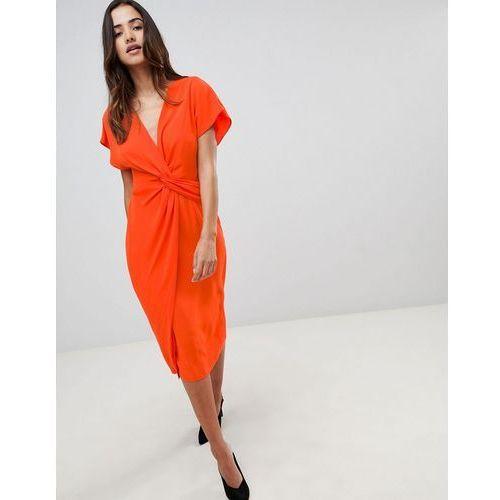Asos design twist midi dress with kimono sleeve - red