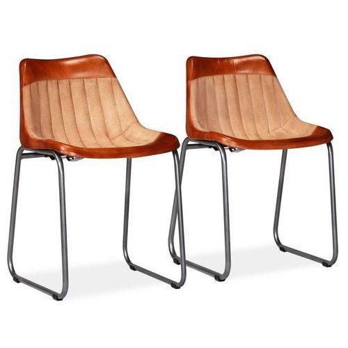 Krzesła do jadalni, 2 szt., skóra i płótno, brązowo-beżowe, kolor beżowy
