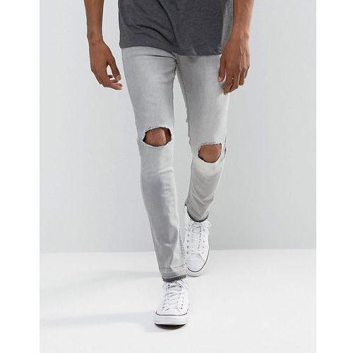 Brave Soul Skinny Grey Frayed Hem Ripped Jeans - Green