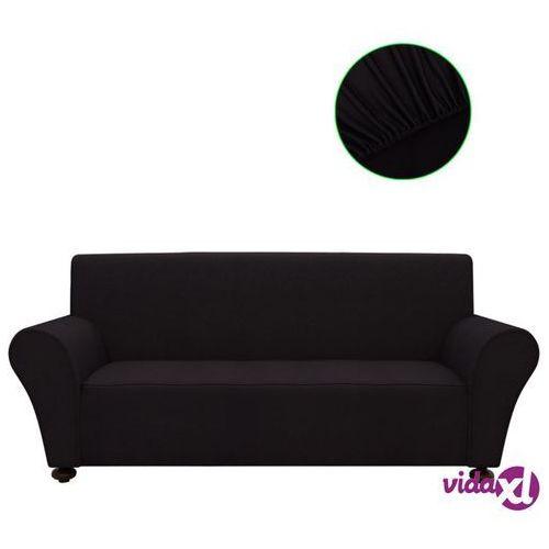 Vidaxl elastyczny pokrowiec na sofę, z dżerseju, czarny