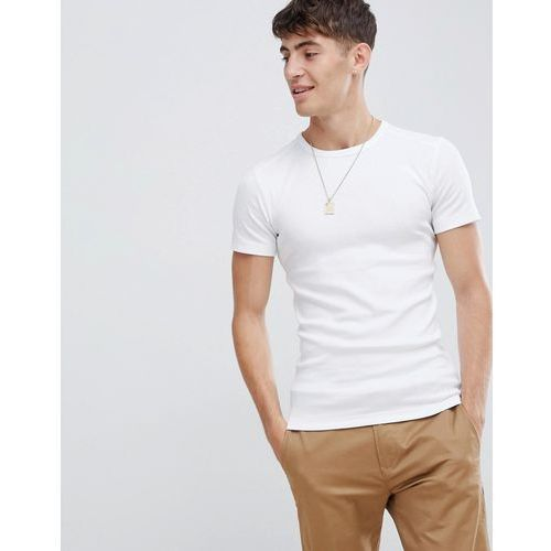 Esprit Organic Cotton Muscle Fit Ribbed T-Shirt - White, w 2 rozmiarach