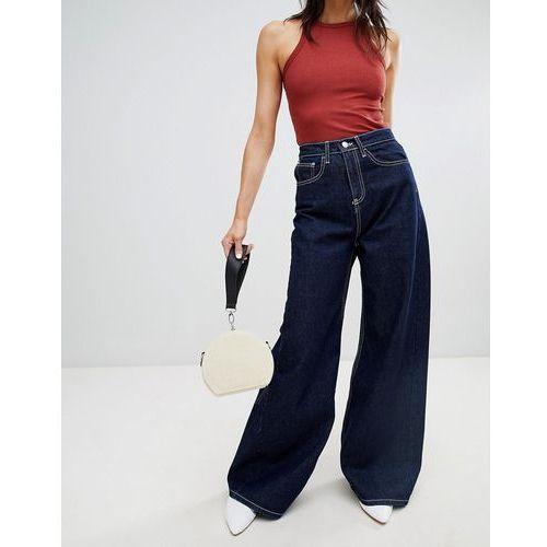 Stradivarius wide leg jean with contrast stitch - Blue
