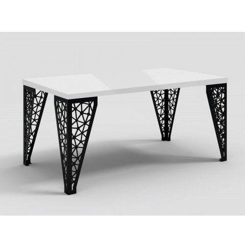 Stół z metalowymi nogami eros biały połysk marki Decoartimo
