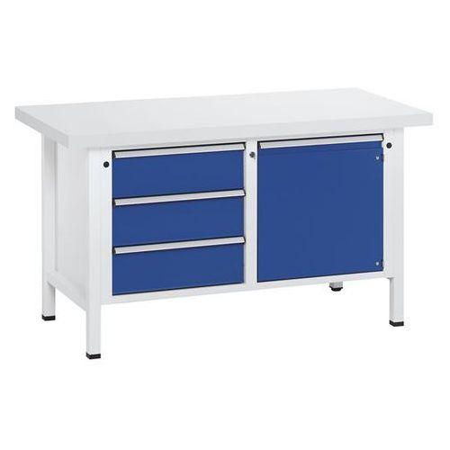 Stół warsztatowy, stabilny, 3 szuflady, drzwi 540 mm, blat uniwersalny, częściow