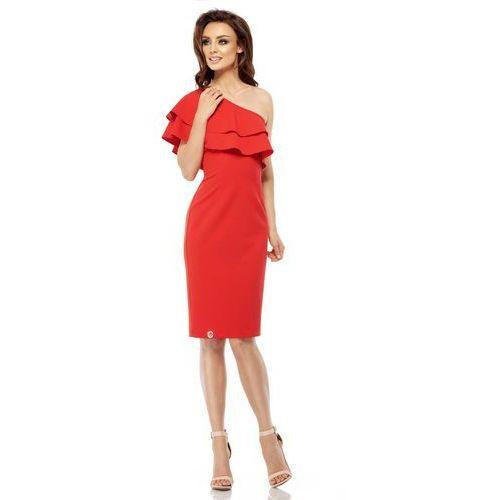 Czerwona Dopasowana Sukienka z Falbanką na Jedno Ramię, kolor czerwony