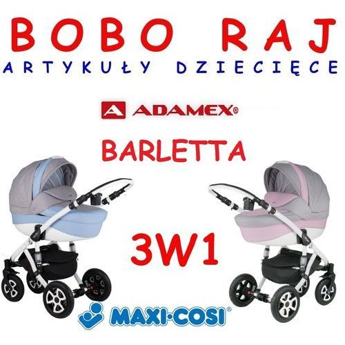 WÓZEK GŁĘBOKO SPACEROWY FIRMY ADAMEX MODEL BARLETTA+ Fotelik MAXI COSI model PEBBLE