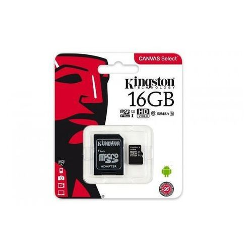 Kingston Karta pamięci Kingston microSDHC Canvas Select 16GB UHS-I Class 10 + adapter (0740617274646)