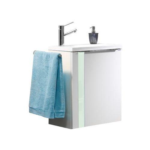 Szafka łazienkowa biała z umywalką Lanzet Vedro 50 - Miętowa \ 50 cm \ Biały wysoki połysk