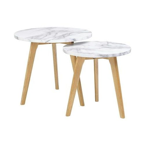 Zestaw stolików kawowych slow duo marble - marmur, nogi fornir orzech marki King home