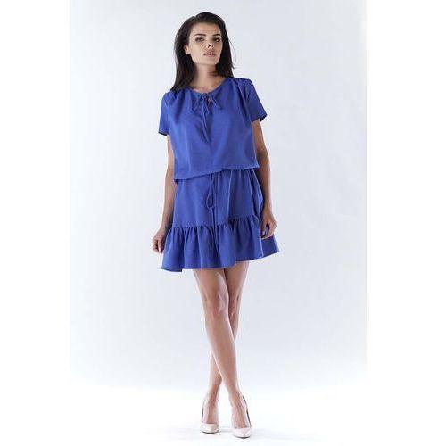 Niebieska mini sukienka w stylu boho z krótkim rękawem marki Awama