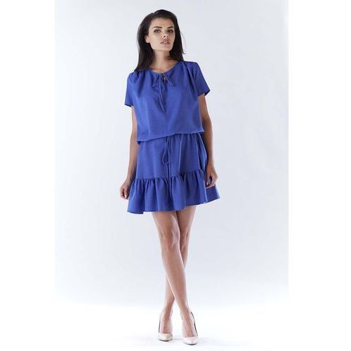 Niebieska Mini Sukienka w Stylu Boho z Krótkim Rękawem, WA180be
