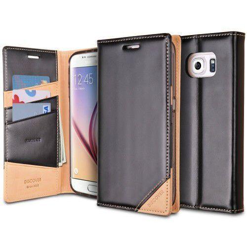 Rearth Ringke Discover Skórzane Samsung Galaxy S6 Black, kolor czarny