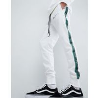 Mennace retro joggers in white with logo - White, kolor biały