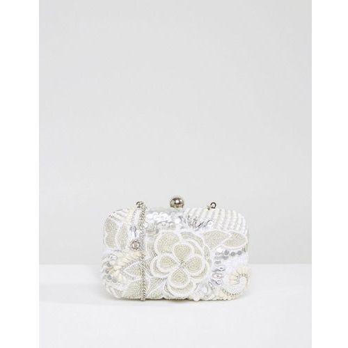 Park Lane Handmade Beaded Structured Clutch Bag - Silver, kolor szary