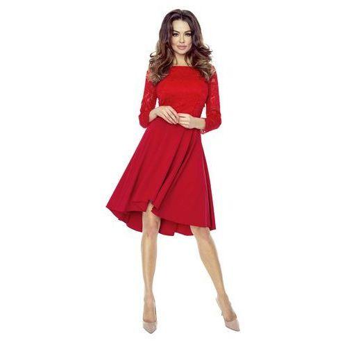 Czerwona Sukienka Rozkloszowana Asymetryczna z Koronkową Górą, kolor czerwony