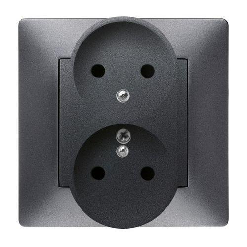 Elektroplast  volante gniazdo 2x2p+z modułowe grafitowy 2643-08 (5902012985618)