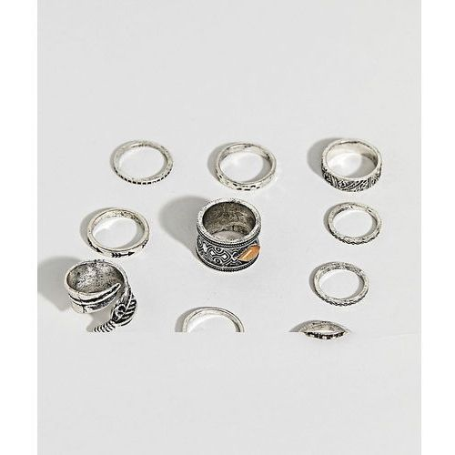 ASOS DESIGN ring pack with stone interest and feather in burnished silver - Silver