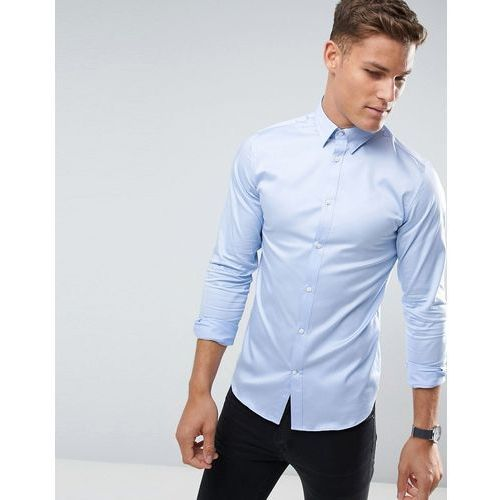 shirt with concealed button down collar in slim fit - blue, Selected homme, XS-M