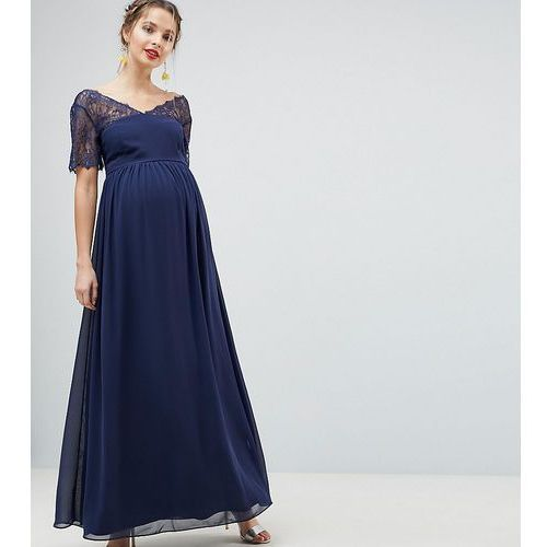 Asos design maternity lace insert panelled maxi dress - navy marki Asos maternity