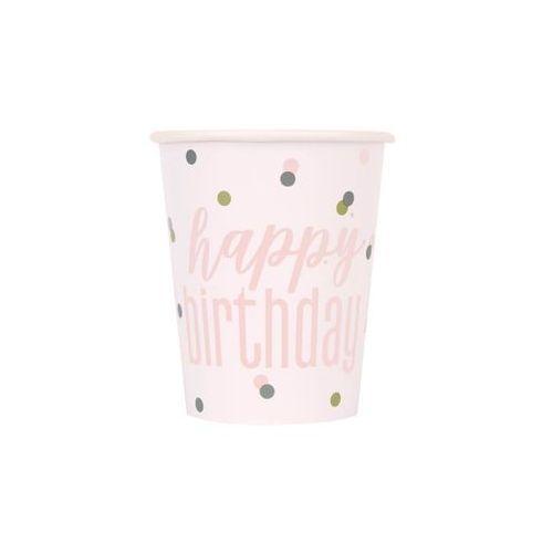 Unique Kubeczki urodzinowe różowe złoto happy birthday - 270 ml - 8 szt. (0011179848966)