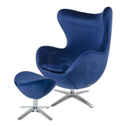 Sofa.pl Fotel egg szeroki velvet z podnóżkiem ciemny niebieski.49 - welur, podstawa stal