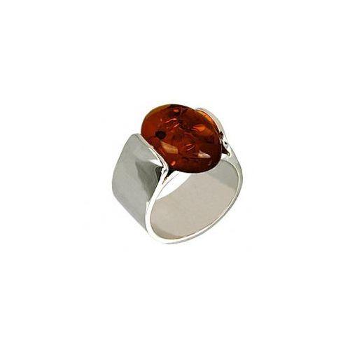 1f68fe30b5a708 Gdzie tanio kupić? Szeroki srebrny pierścionek z bursztynem R254 ...